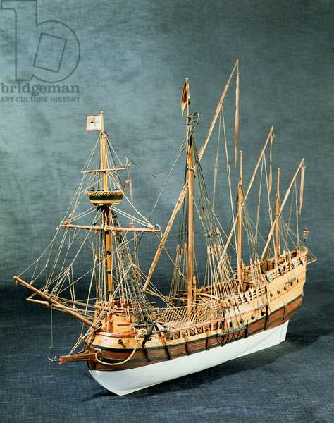 Rigged model of a Portuguese caravela from c.1535 (wood) (see also 260974)