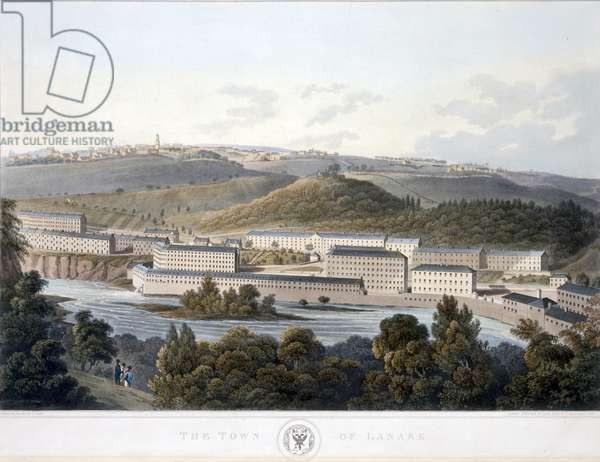 The Town of Lanark, from 'View of Scotland', 1824-25 (coloured aquatint)