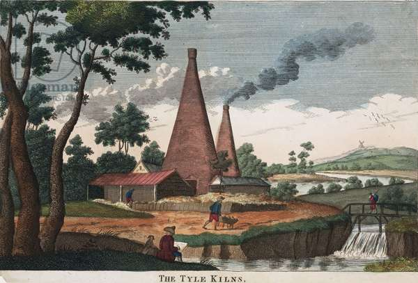 The Tyle Kilns, 1780-1830 (hand coloured etching)