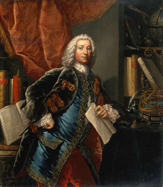 Portrait of a gentleman in his study with scientific instruments, c.1750 (oil on canvas)