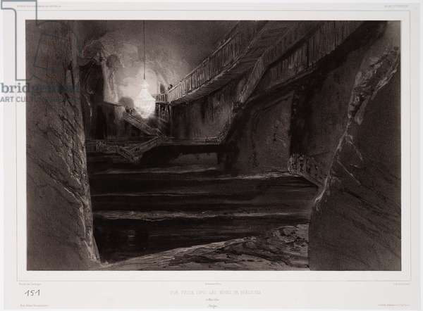 View Taken in the Mines of Wieliczka, Poland, 20th March 1840, engraved by Sabatier (tinted litho)