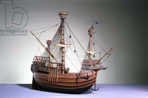1:60 scale model of a Flemish carrack of c.1480 (wood)
