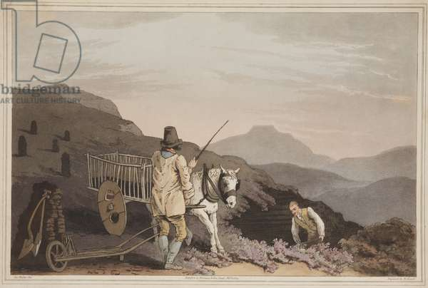 The Peat Cart, from 'The Costume of Yorkshire', engraved by Robert Havell, 1814 (hand coloured aquatint)