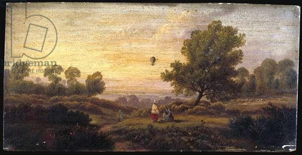 Balloon Over Woodland, c.1840 (oil on panel)