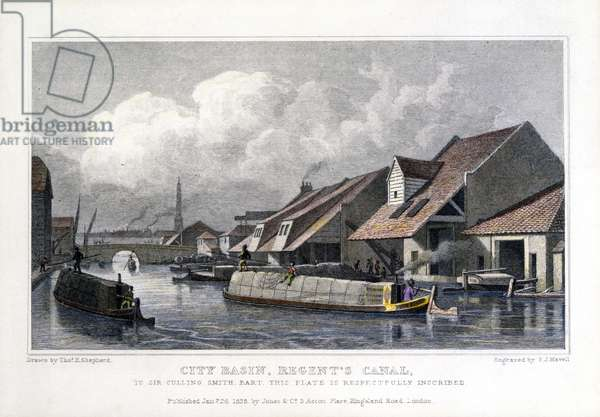 City Basin, Regent's Canal, engraved by F.J. Havell, 1827 (coloured engraving)