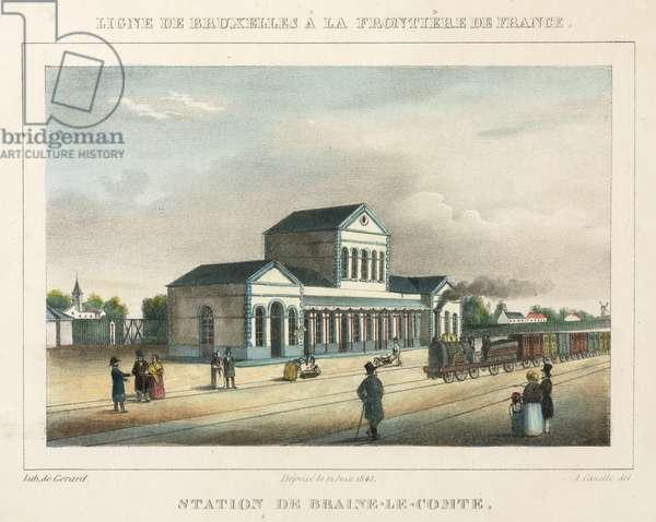 Braine-le-Comte Station, Belgium, engraved by Gerard, 1843 (colour litho)