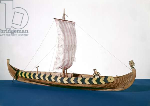 Rigged model of a Viking ship found at Gokstad, Norway in 1880 (wood)