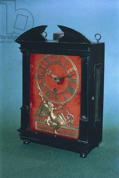 Early weight driven pendulum clock, possibly designed by Christian Huygens (1629-95) c.1675 (wood)
