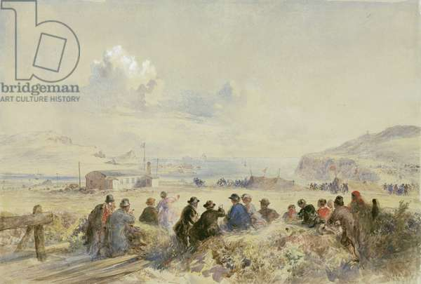 Watching Manoeuvres from the Dunes, Foilhummerum Bay, Valentia, c.1865 (w/c on paper)
