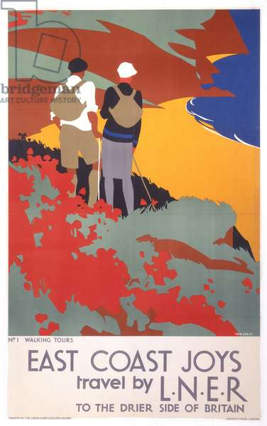 East Coast Joys, Travel by LNER to the Drier Side of Britain: No. 1 Walking Tours, 1931 (colour litho)