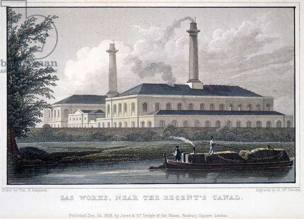 Gas Works, near the Regent's Canal, engraved by A. McClatchie, 1828 (coloured engraving)