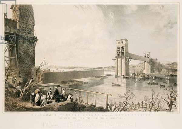Britannia Tubular Bridge during construction, 3rd December 1849 (colour litho)