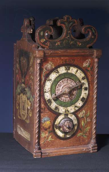 Domestic alarm clock, 1669 (wood) (see also 8029)