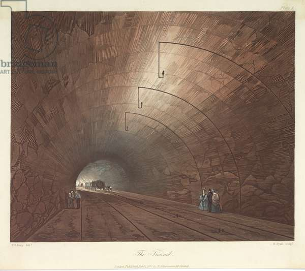 The Tunnel, engraved by Henry Pyall (1795-1833) 1831 (coloured aquatint)
