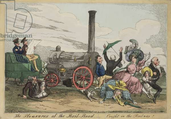 'The Pleasures of the Rail Road - Caught in the Railway!', c.1840 (hand coloured etching)