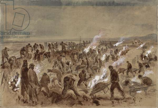 Workmen laying telegraph cable, 1866 (w/c on paper)