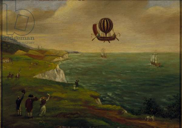 The First Balloon Crossing of the English Channel, 7th January 1785, c.1785 (oil on panel)