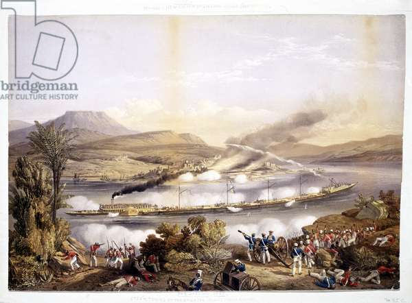 Paddle steamer and barges, from 'System of Indian River Navigation' by John Bourned, 1858 (chromolitho)