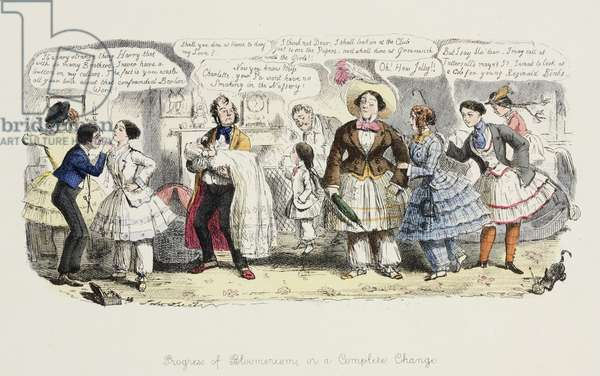 The Progress of Bloomerism or, a Complete Change, from 'Punch', 1852 (coloured engraving)