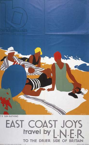 East Coast Joys, Travel by LNER to the Drier Side of Britain: No. 2 Sun-Bathing, 1931 (colour litho)