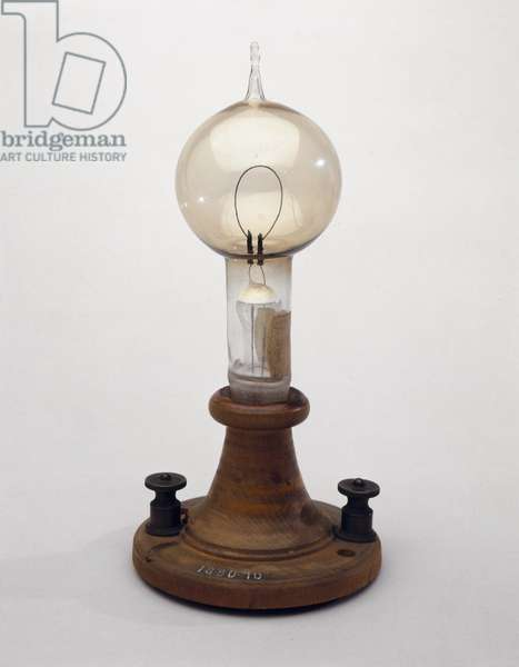 Electric filament, 1879 (glass & wood) (see also 3197 & 259549-50)