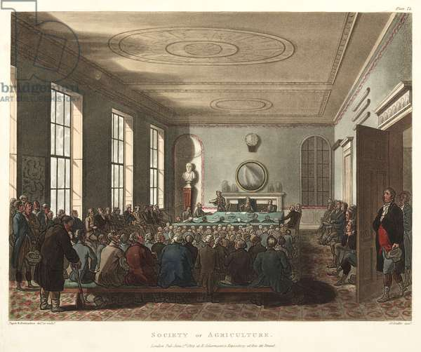 Society of Agriculture, from 'Ackermann's Microcosm of London', engraved by Joseph Constantine Stadler (fl.1780-1812) 1809 (hand coloured aquatint)