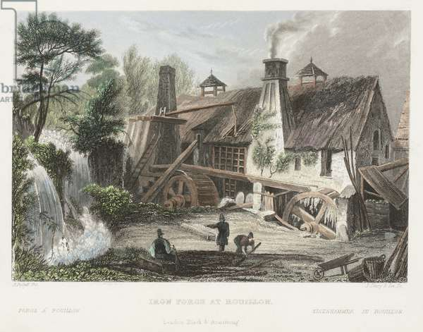 Iron Forge at Rouillon, engraved by J. Shury (coloured engraving)