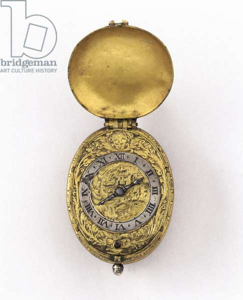 Oval verge escapement watch, c.1630 (silver & gilt metal)