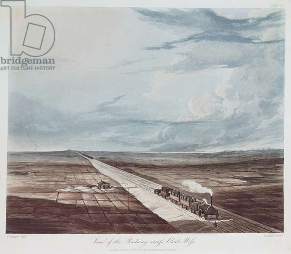 View of the Railway Across Chat Moss, engraved by Henry Pyall (1795-1833) 1831 (coloured aqautint)