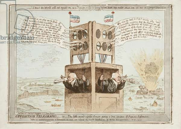 Opposition Telegraphs, or The Little Second Sighted Lawyer Giving a True Specimen of Patriotic Information, 21st June 1798 (coloured engraving)