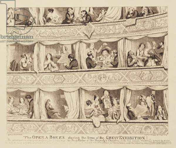The Opera Boxes During the Time of the Great Exhibition, 1851 (etching)