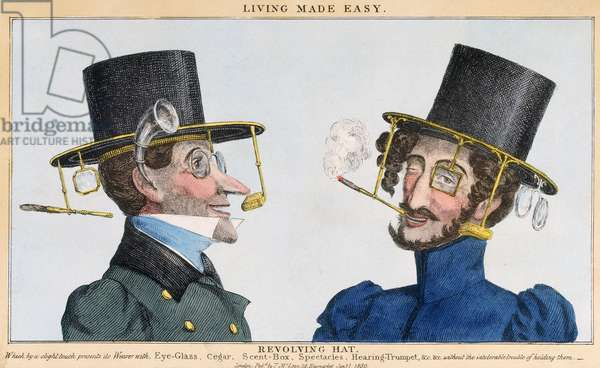 Living Made Easy - Revolving Hat, published by Thomas McLean, 1st January 1830 (coloured engraving)