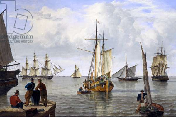 Shipping in the Thames Estuary, 1820 (oil on canvas)