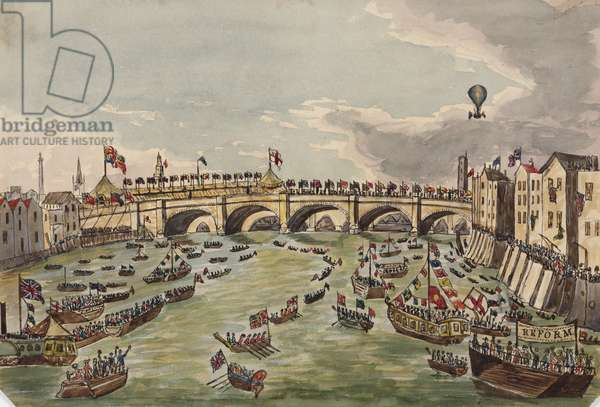 The Opening of New London Bridge, 1st August 1831 (pen & ink and w/c on paper)