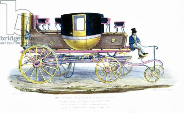 Mr. Gurney's Steam Carriage as Seen Running in Regent's Park, 6th November 1827 (colour litho)