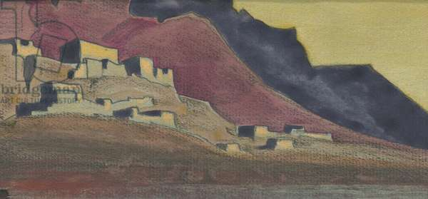 Tibetan Strongholds, sketch, 1932 (tempera and pencil on paper)