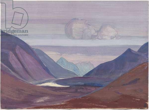 Chandra River, study, 1931 (tempera on paper)