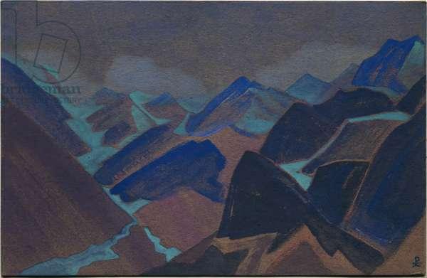 Glaciers of Lahul, 1936 (tempera on cardboard)