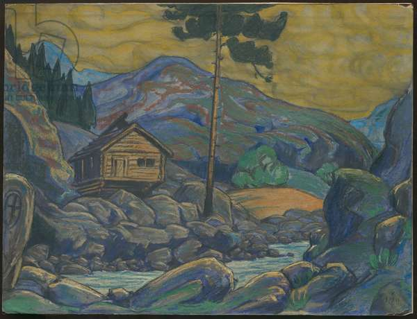Hut in the Mountains, Décor for Ibsen's drama 'Peer Gynt', 1911 (mixed media on cardboard)