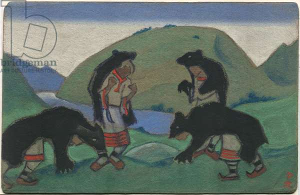 Elders in Bearskins, décor and costume design for Stravinsky's ballet 'Le Sacre du Printemps', 1944 (tempera on cardboard)