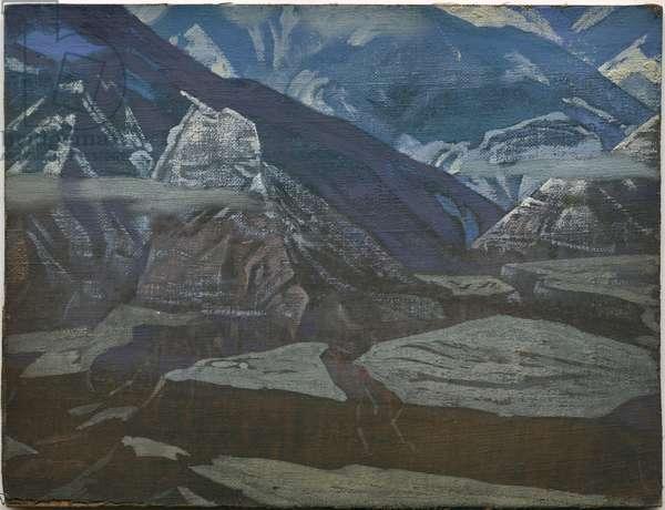 Bharagarh Fort, 'Kulu' series, 1929 (tempera on canvas laid on cardboard)