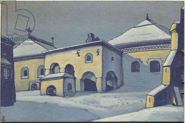 Old Pskov, 1936 (tempera on cardboard)