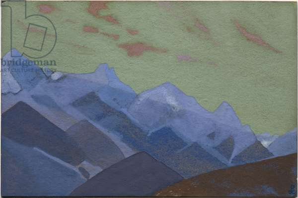Mountain Range, Approach to Everest, 1936 (tempera on cardboard)