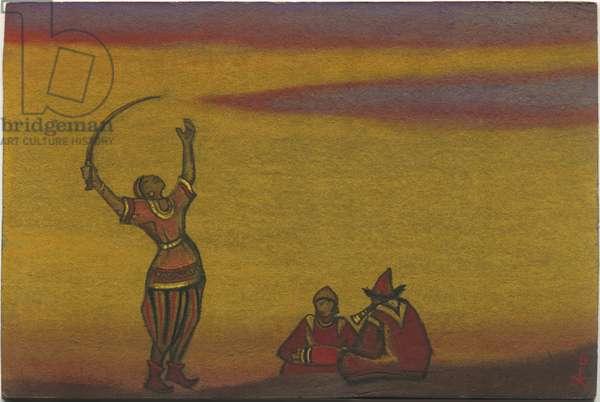Polovtsians, one with a scimitar, costume design for 'Polovtsian Dances' from Borodin's opera 'Prince Igor', 1943 (tempera on cardboard)
