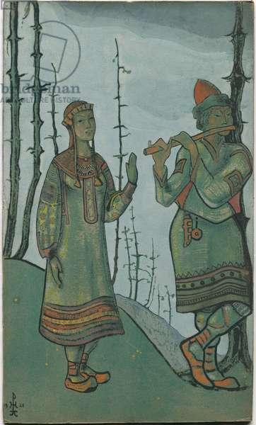 Snegurochka and Lel, costume design for Rimsky-Korsakov's opera 'Snegurochka', 1921 (tempera on cardboard)
