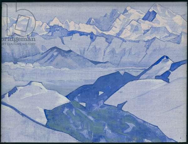 Everest Range, 'Himalayan' series, 1924 (tempera on canvas laid on cardboard)