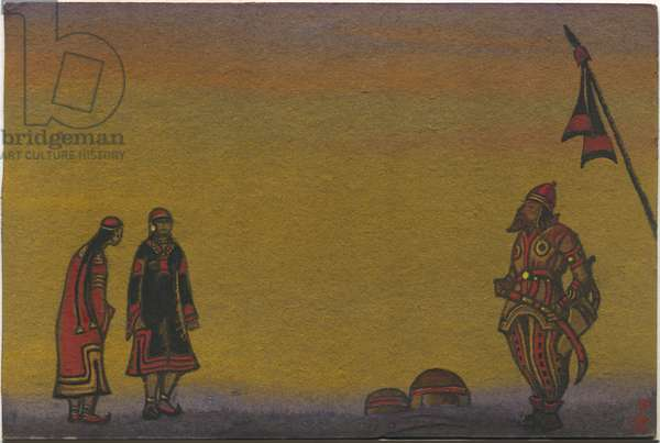 Polovtsians, Polovtsian and Maidens, costume design for 'Polovtsian Dances' from Borodin's opera 'Prince Igor', 1943 (tempera on cardboard)