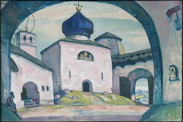 Old Pskov, décor for Rimsky-Korsakov's opera 'The Maid of Pskov', 1922 (oil tempera on canvas)
