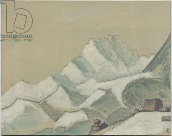 Himalayas beyond the Clouds, sketch, 1933 (tempera & pencil on paper)