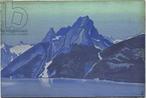 Lake of the Nagas, Kashmir, 1936 (tempera on cardboard)